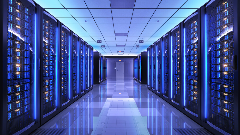 a data centre with blue lights on and is cooled effeciently